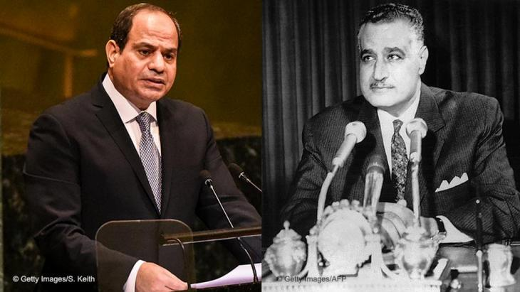 Photo montage of Egyptian presidents Abdul Fattah al-Sisi and Gamal Abdel Nasser (photo: STF/AFP/Getty Images)