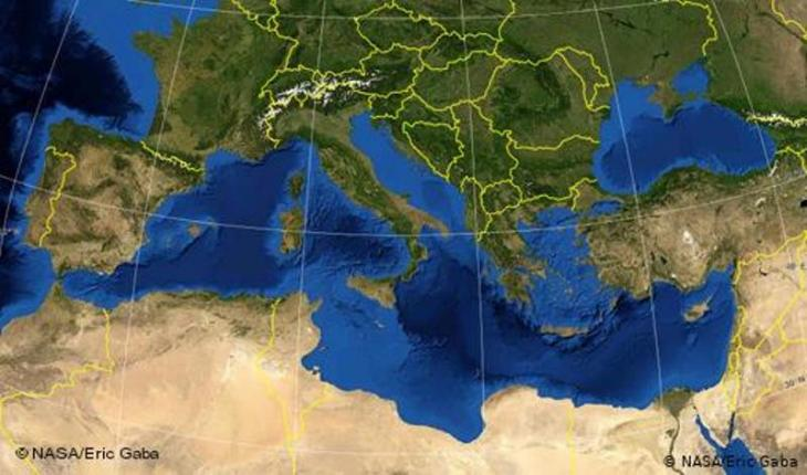 Map showing countries bordering the Mediterranean and their national boundaries (photo: NASA/Eric Gaba)