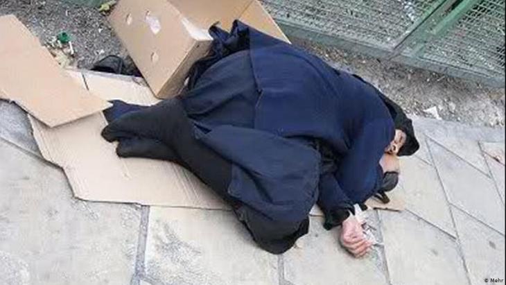 Homeless woman in Tehran (photo: Mehr)