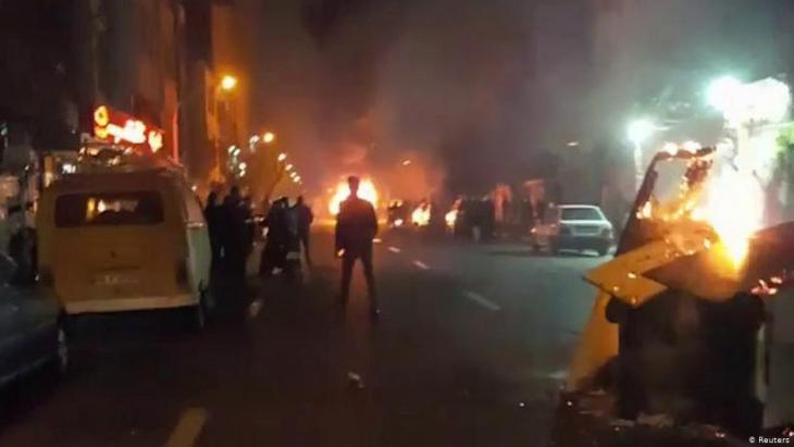 People protest in Tehran, Iran, 30 December 2017 (still image from a video obtained by Reuters)