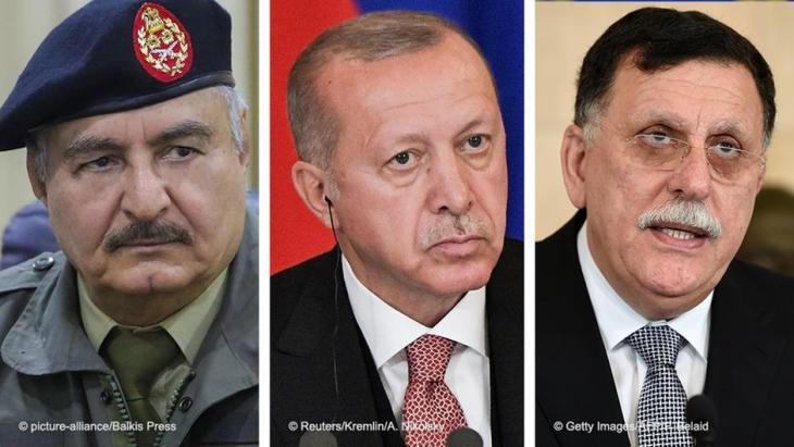 Libyan general Khalifa Haftar; Turkish President Recep Tayyip Erdogan; Libyan Prime Minister Fayez al-Sarraj (photo: Reuters/picture-alliance/Getty Images)