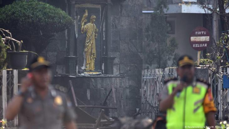 Islamist suicide bomb attack on churches in the Indonesian city of Surabaya on 13 May 2018 (photo: Reuters)