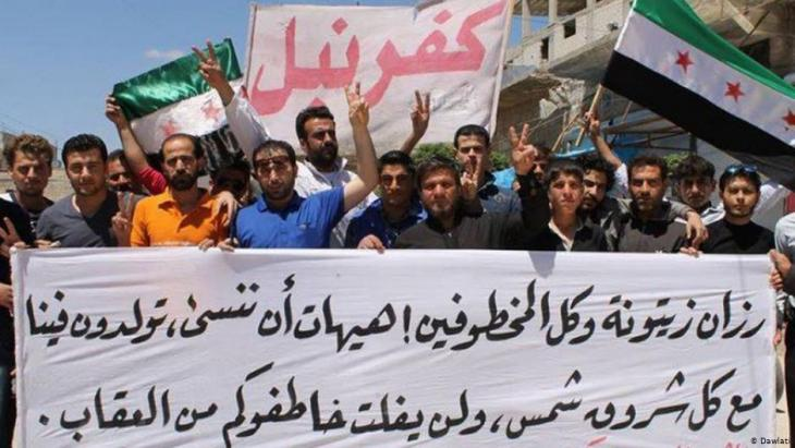 Syrian democracy activists from the north Syrian town of Kafranbel in Idlib province (photo: Dawlati)