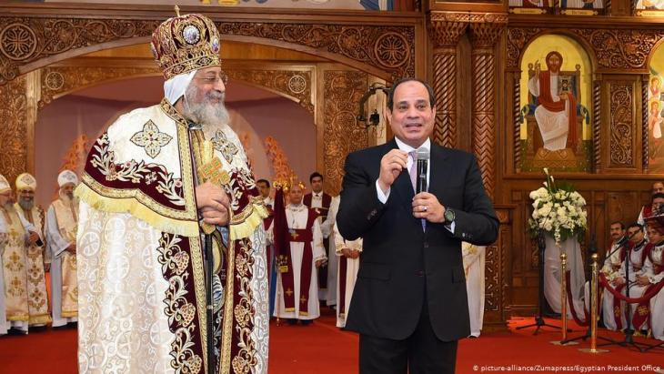 Egyptian Coptic Pope Tawadros II (left), Pope of the Coptic Orthodox Church of Alexandria, and Patriarch of Saint Marc Episcopate receives Egyptian President Abdul Fattah al-Sisi (right), at the new Coptic Cathedral ''The Nativity of Christ'', in Cairo, Egypt, 6 January 2018 (photo: picture-alliance/Zumapress/Egyptian President Office)