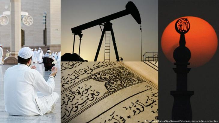 Photomontage symbolising the importance of oil, religion and specifically Wahhabism to Saudi Arabia (photo: picture-alliance/dpa/Jasmin Merdan/Fotolia.com/mysontuna –Fotolia.com)