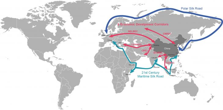 Map showing the projected development of China's Belt and Road Initiative (source: beltroad-initiative.org)
