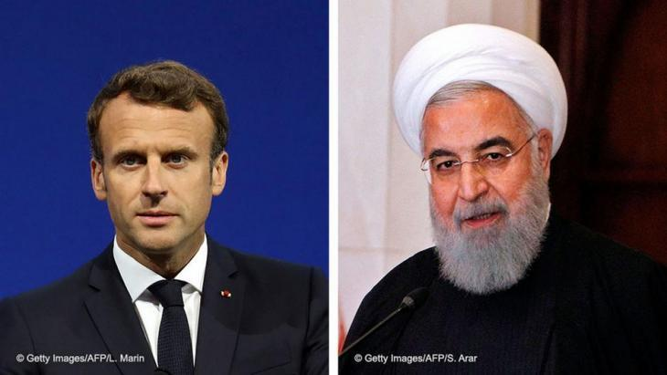 Photomontage of Emmanuel Macron and Hassan Rouhani (photo: AFP/Getty Images)
