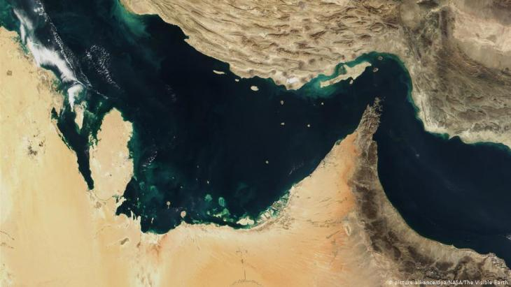 Satellite image of the Strait of Hormuz in the Persian Gulf (photo: picture-alliance/dpa/Nasa)