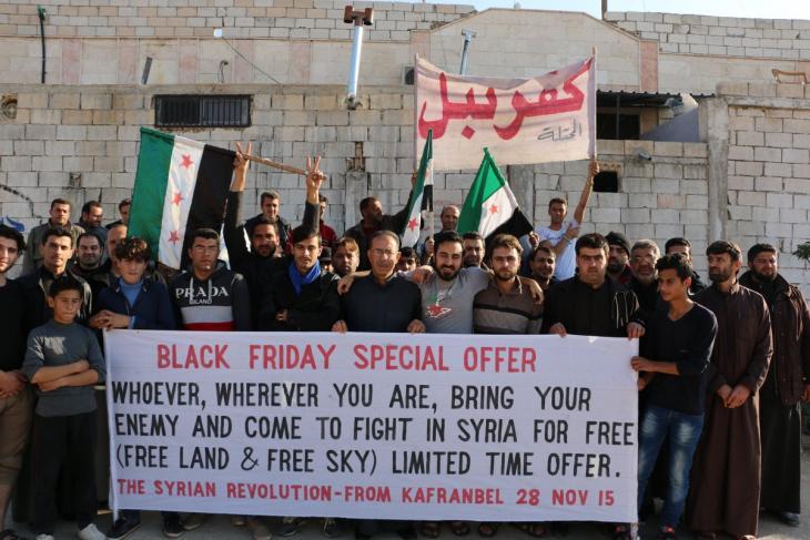 "Kafranbel banner: ""Black Friday Special Offer"" (source: Twitter; Raed Fares)"