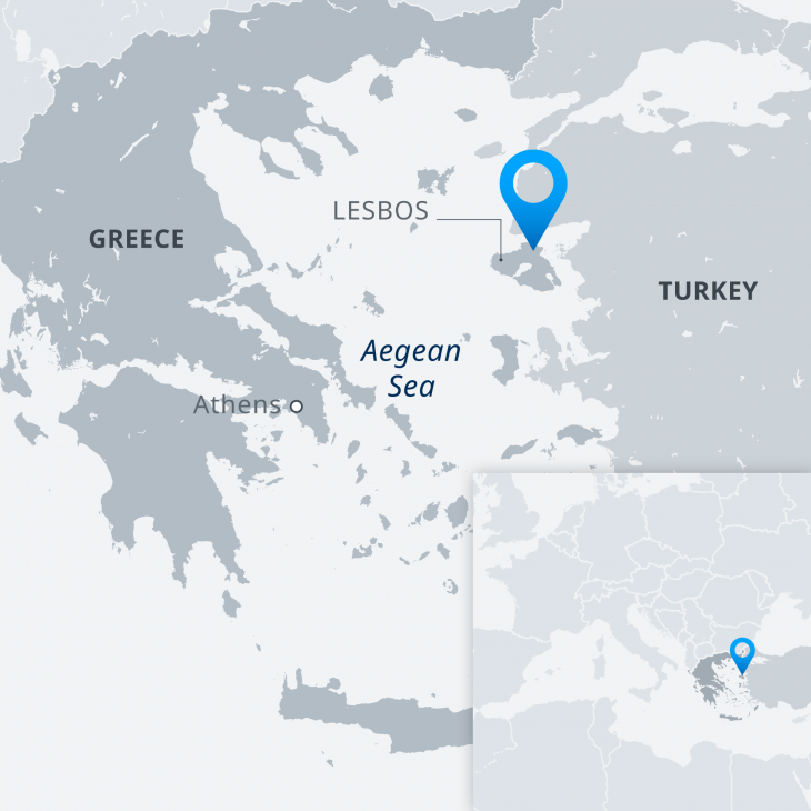 Map showing the location of Lesbos (source: DW)