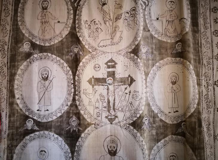 Syriac-Orthodox wall-hanging in a church in Tur Abdin (photo: Marian Brehmer)