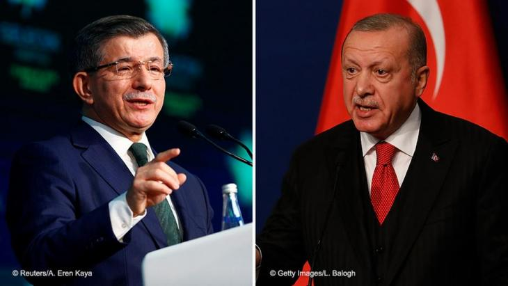Former Turkish prime minister Ahmet Davutoglu speaks during a news conference to announce the establishment of his Future Party in Ankara, Turkey, 13 December 2019 (photo: REUTERS/Alp Eren Kaya)/Turkish President Recep Tayyip Erdogan speaks to the press after meeting with Hungarian Prime Minister Viktor Orban for discussions on Syria and migration on 7 November 2019 in Budapest (photo: Laszlo Balogh/Getty Images)