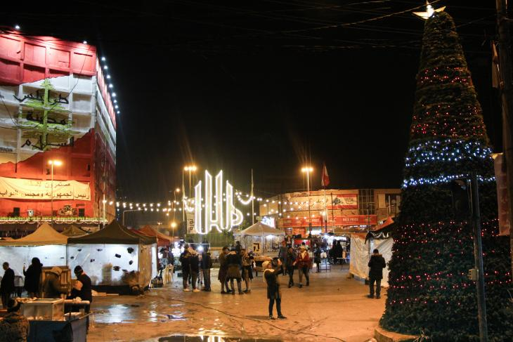 Christmas tree on Sahat an-Nour Square in the north Lebanon city of Tripoli (photo: Hanna Resch)