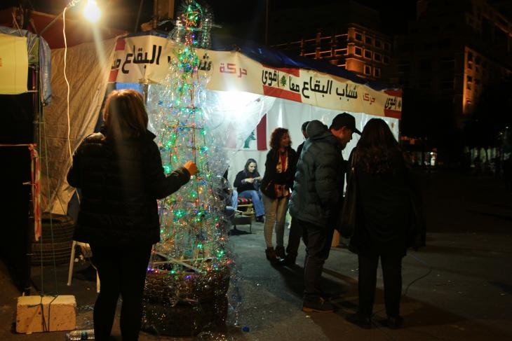 Mini Christmas tree on Martyr Square in Beirut (photo: Hanna Resch)