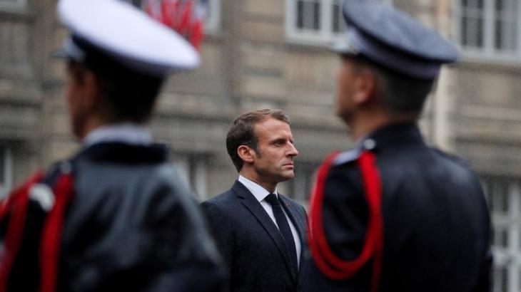 French President Emmanuel Macron during the funeral for the four murdered police officers (photo: Reuters)