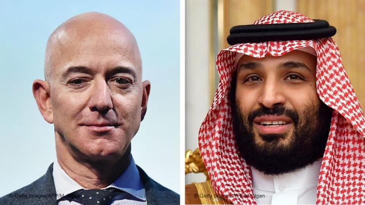 Photo montage of Jeff Bezos and Mohammed bin Salman, right (photo: AFP/Getty Images)