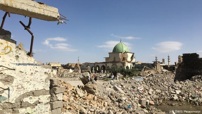 View of the destroyed Al-Nuri Mosque in Mosul (photo: DW)