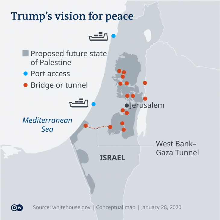 "Infographic showing a map of Israel and Palestine as per Donald Trump's ""Vision for Peace"" (source: DW)"