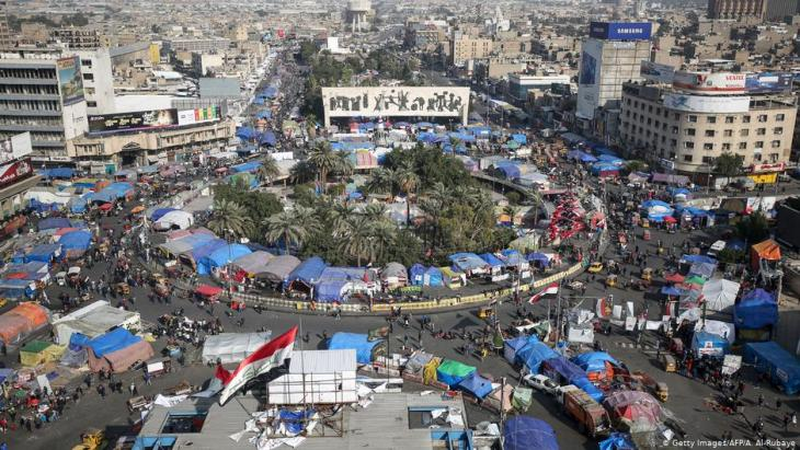 Tent city on Baghdad's Tahrir Square (photo: Getty Images/AFP)