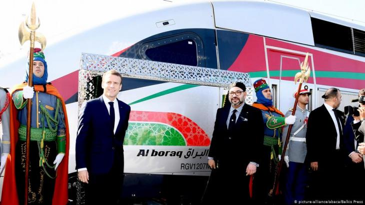 King Mohammed VI of Morocco and French president Emmanuel Macron inaugurate Al Boraq high speed train in Tangier, Morocco on 15 November 2018 (photo: Balkis Press/ABACAPRESS.COM)