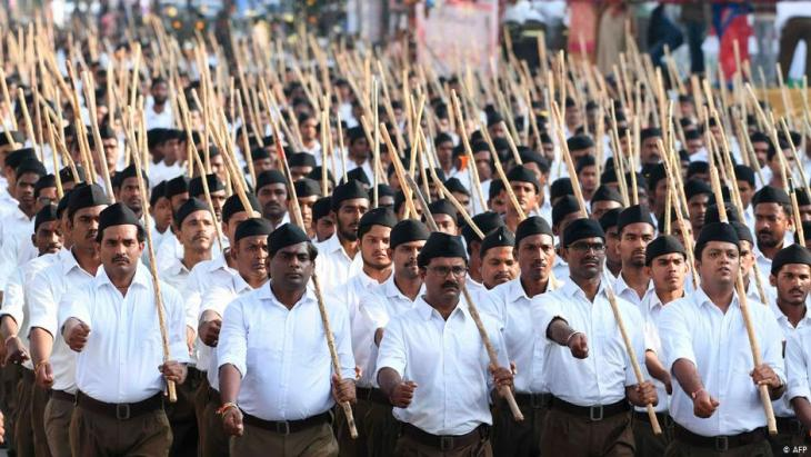 Members of the Rashtriya Swayamsevak Sangh (RSS) participate in a rally in support of India's new citizenship law on the outskirts of Hyderabad on 25 December 2019 (photo: STR/AFP)