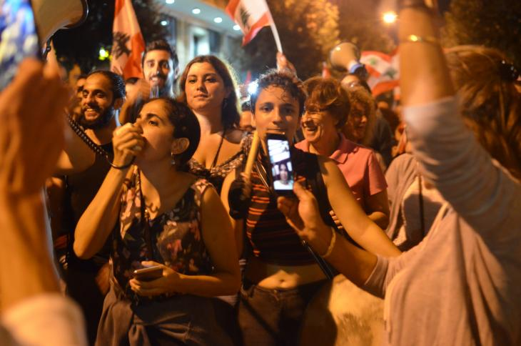 Women's rights activist Roula Seghaier (left of centre) at a demonstration in Beirut (photo: Julia Neumann)