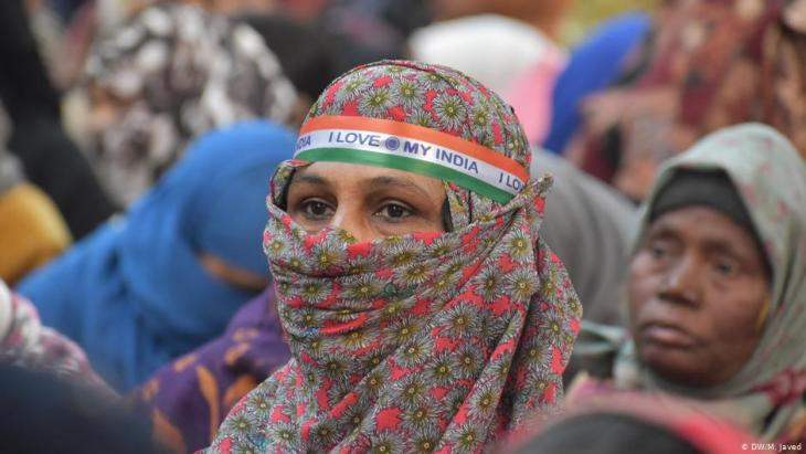 Muslim women protesting against the Citizenship Amendment Act in New Delhi, 12.01.2020 (photo DW/M. Javed)