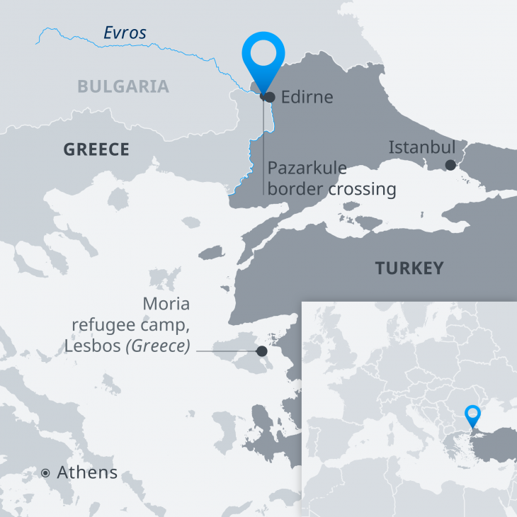 Infographic showing the position of refugeess on the Turkish-Greek border and on the Aegean island of Lesbos (source: DW)