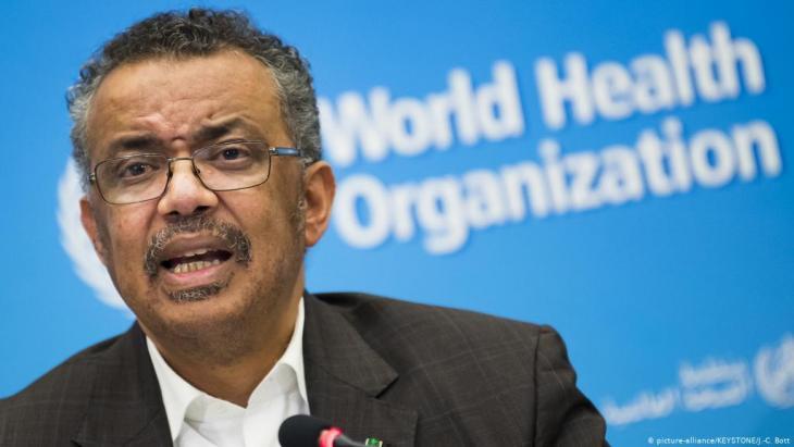 World Health Organisation Director-General Tedros Adhanom Ghebreyesus declares a global health emergency (photo: picture-alliance/KEYSTONE/J.-C. Bott)
