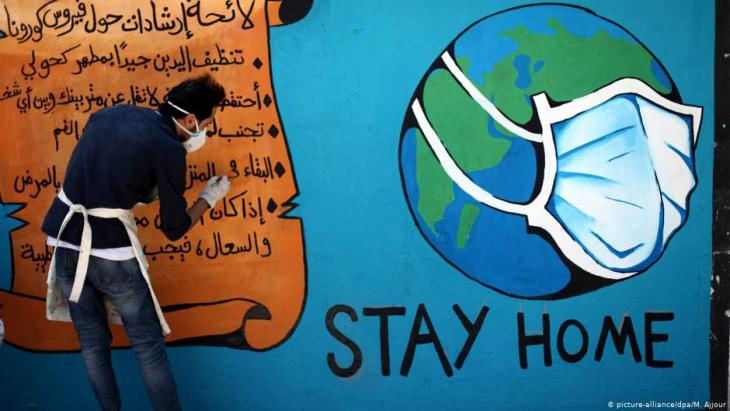 Coronavirus graffiti in the Gaza Strip exhorting people to stay at home (photo: picture-alliance/dpa/M. Ajjour)