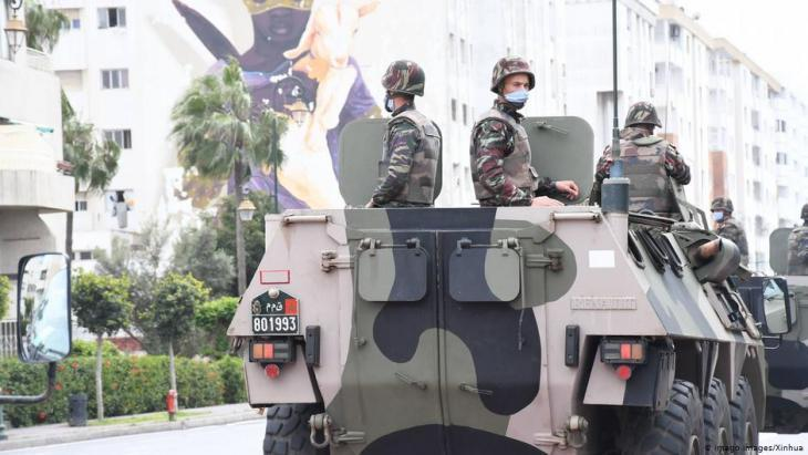 Moroccan military patrolling the streets of Rabat on 22 April 2020 (photo: Imago Images/Xinhua)