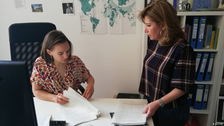 Alexandra Lily Kather and Joumana Seif of the ECCHR in Berlin (photo: ECCHR)