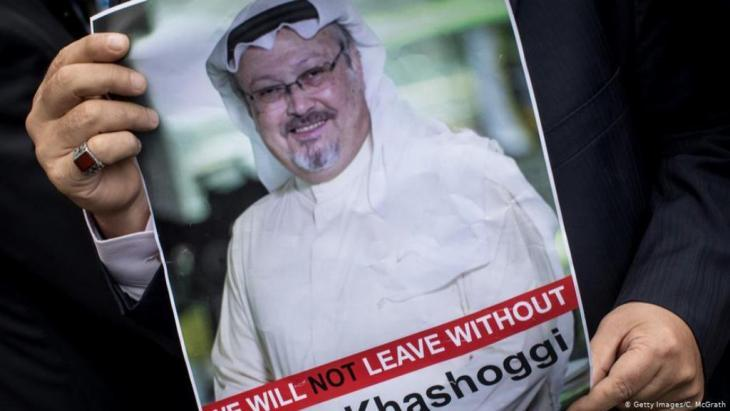 Poster of murdered Saudi journalist Jamal Kashoggi (photo: Getty Images/C. McGrath)