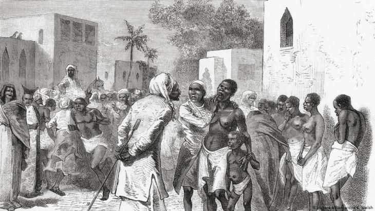 Illustration dating from 1878 depicting a slave market in Zanzibar (picture: picture-alliance/dpa/K. Walsh)