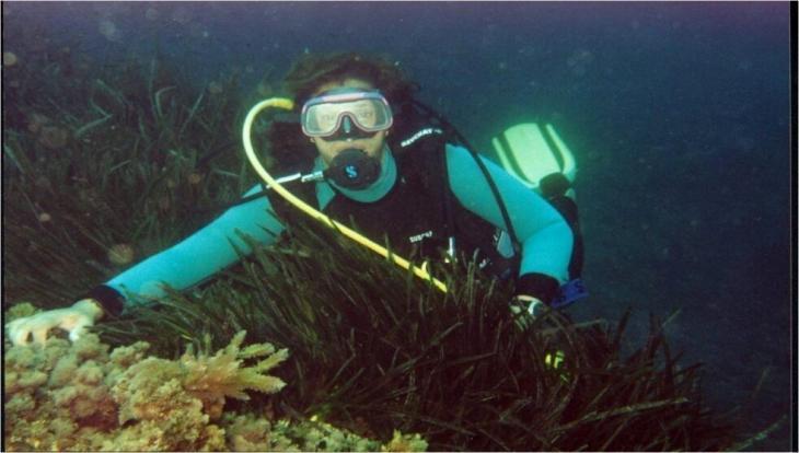 Environmental activist Samia Balistrou scuba-diving (photo: Samia Balistrou)