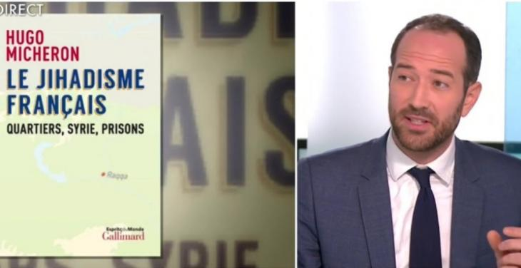 "Photo montage: cover of ""Le Jihadisme francais. Quartiers, Syrie, Prisons"" by Hugo Micheron 