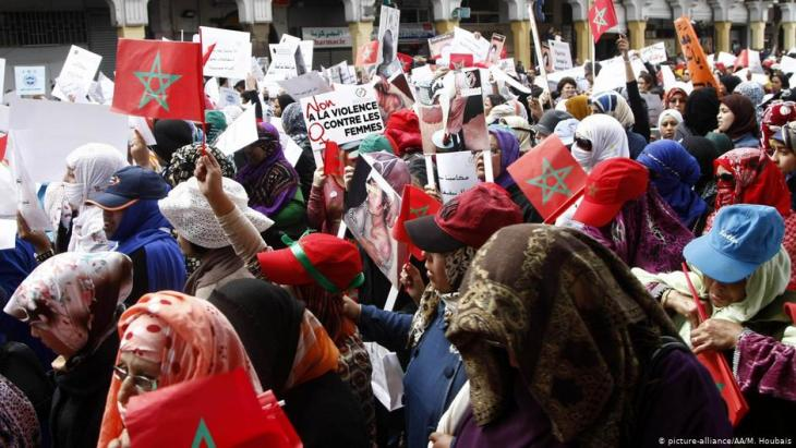 Women protesting against gender-based violence in Morocco on International Women's Day 2018 (photo: picture-alliance/AA/M. Houbais)