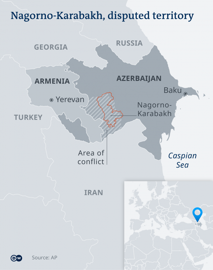 Infographic showing the disputed region of Nagorno-Karabakh (source: DW)