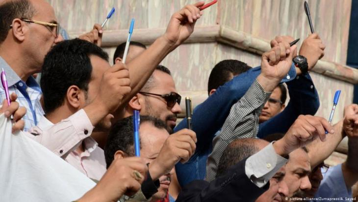 Egyptian journalists demonstrate in Cairo (photo: picture-alliance/ZUMAPRESS/A. Sayed)