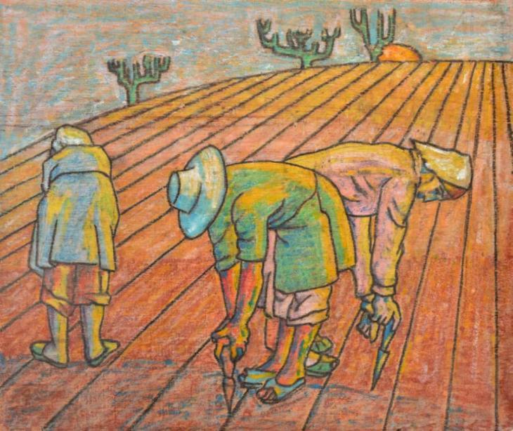 """Women Farmers"", circa 1980, by Syrian artist Leila Nseir (photo: Ahmed Kasha)"