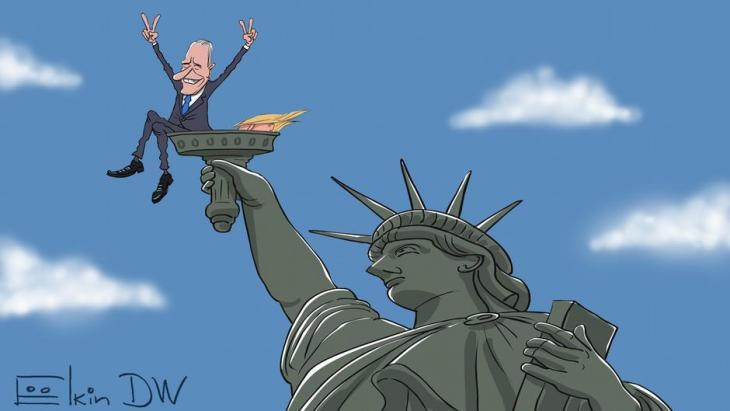 Caricature by Sergey Elkin: Joe Biden celebrates victory in the U.S. election (source: DW)