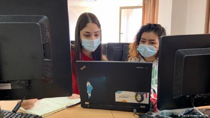 Two students from Axsos' first boot camp: Ghada Qaraeen (left) and Tala Qawasmi