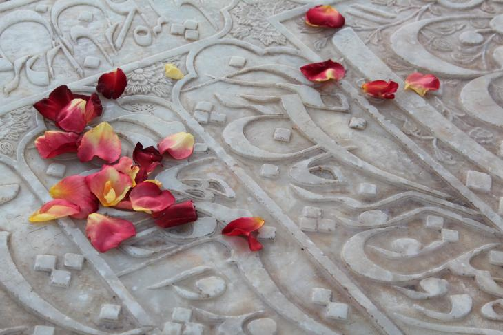 Rose petals strewn by a pilgrim on Hafez' marble gravestone (photo: Marian Brehmer)