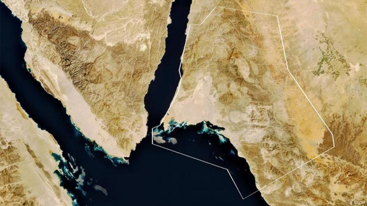 Map outlining the area where the planned city of NEOM will be built (photo: discoverneom.com)