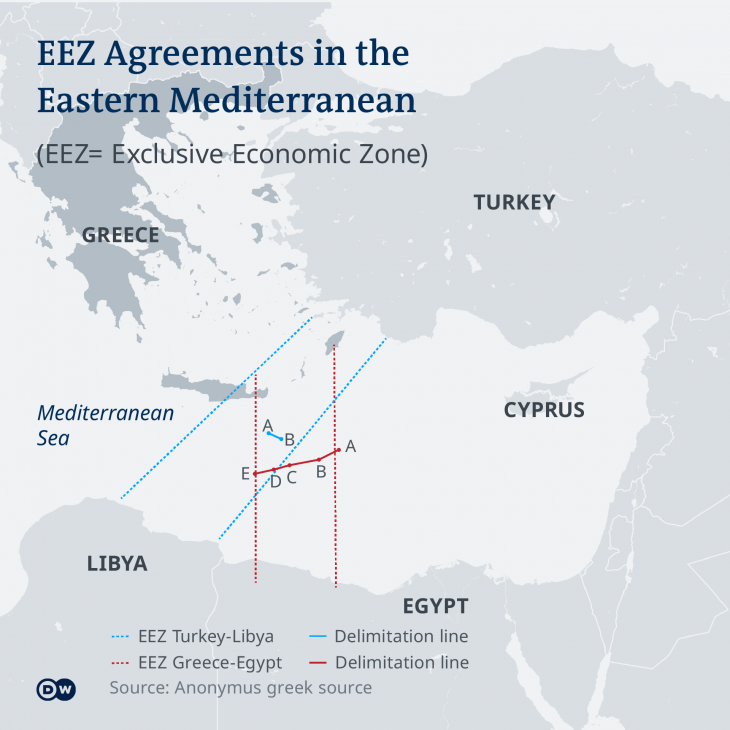 EEZ agreements in the Mediterranean (source: DW)