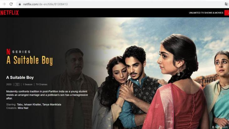 "Netflix advertisement for the series ""A suitable boy"" (source: netflix.com)"