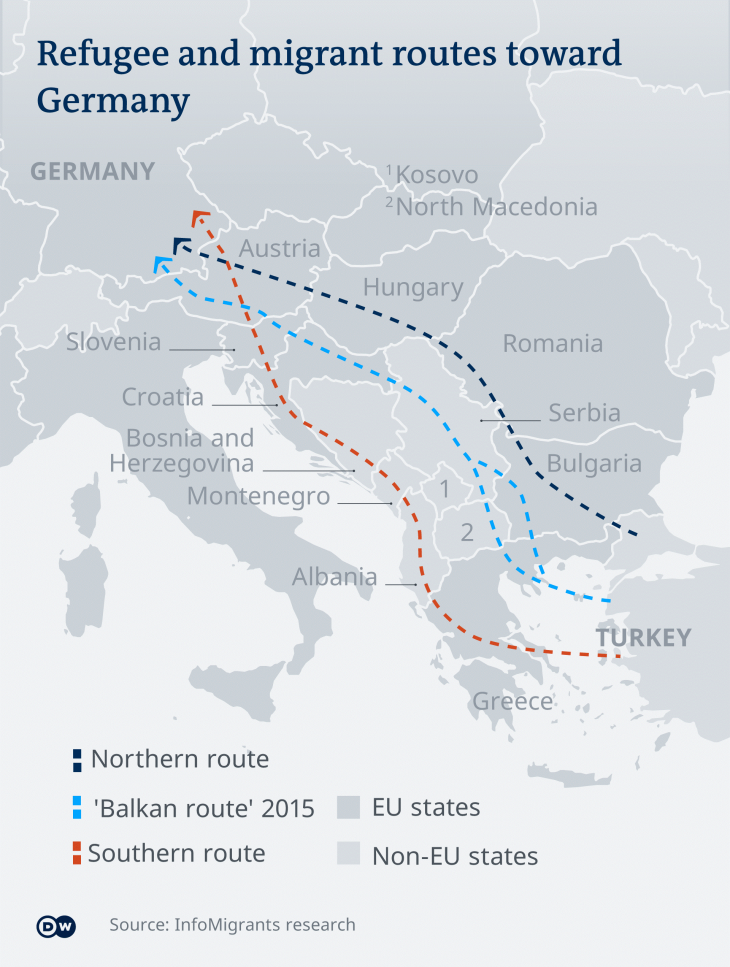 Refugee and migrant routes towards Germany (source: Infomigrants research)