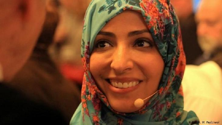 "Yemen's ""mother of the revolution,"" activist Tawakkul Karman, received the Nobel Peace Prize in 2011 (photo: DW/A. M. Pedziwol)"