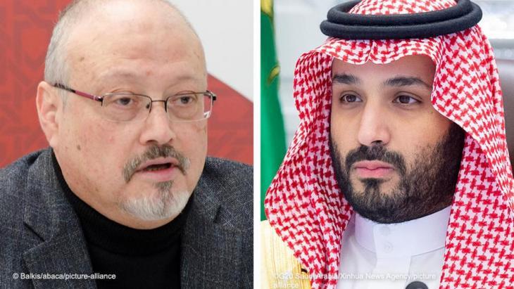 Photomontage Jamal Khashoggi and Mohammed bin Salman (photo: Balkis/abaca/picture-alliance; G20 Saudi Arabia/Xinhua News Agency/picture-alliance)