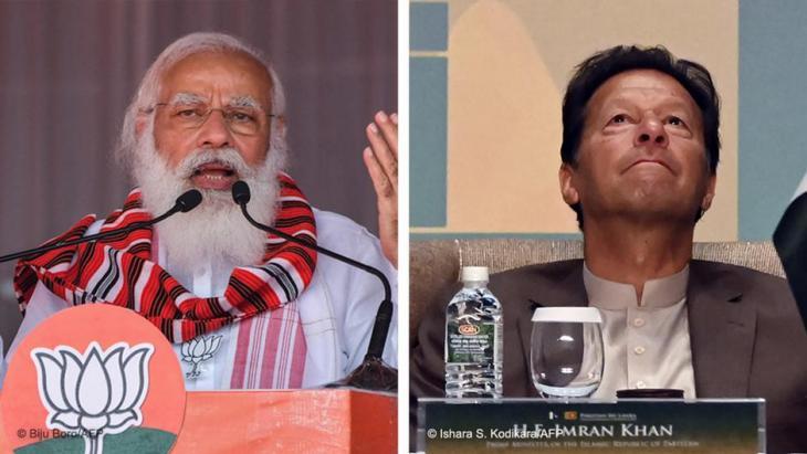 Narendra Modi, left, and Imran Khan (photo: Bilju Boro/AFP and Ishara S. Kodikara/AFP)